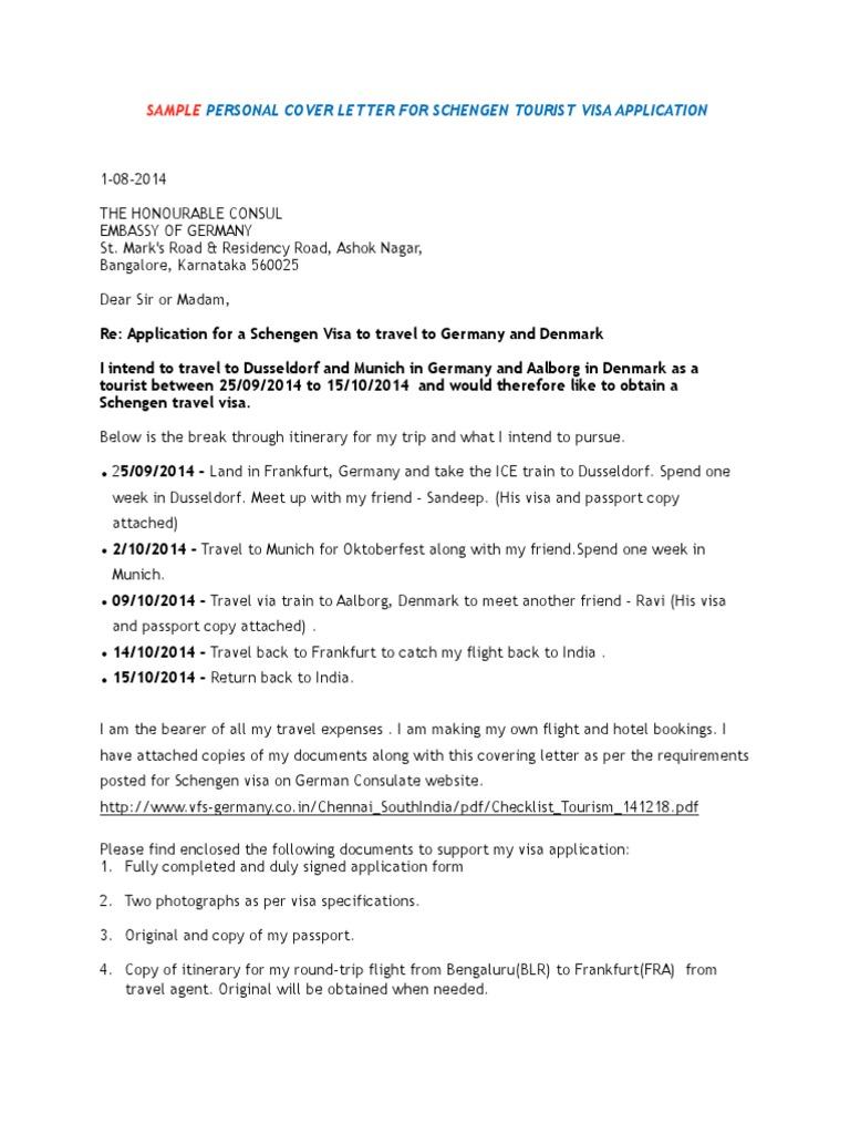 Personal Cover Letter Schengen Visa