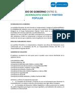 Acuerdo de Gobierno Entre El Pnv y Pp en Euskadi