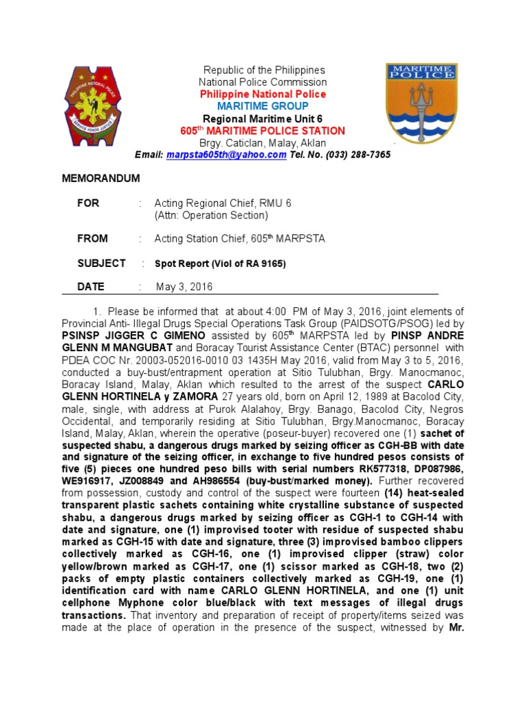 2 ) Spot Report RA 9165 Dated May 3, 2016 | Government