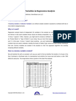 The Use of Dummy Variables in Regression Analysis