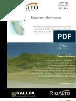 Rio Alto Mining Limited - Resumen Informativo