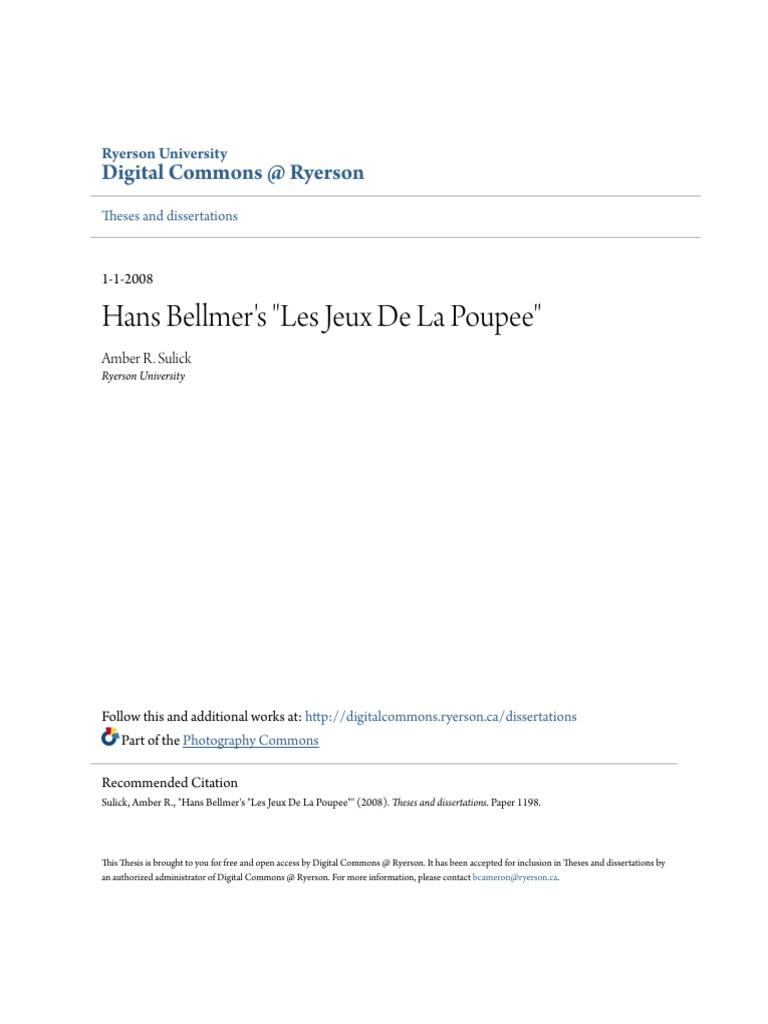 Hans Bellmer\'s Les Jeux de Ia Poupee (The Games of the Doll ...
