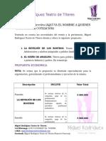 Cotizacion Propuesta Claudita Miguel Rodríguez Teatro de Títeres 2016