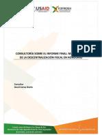 CONSULTORÍA SOBRE EL INFORME FINAL MARCO LEGAL DE LA DESCENTRALIZACIÓN FISCAL EN HONDURAS