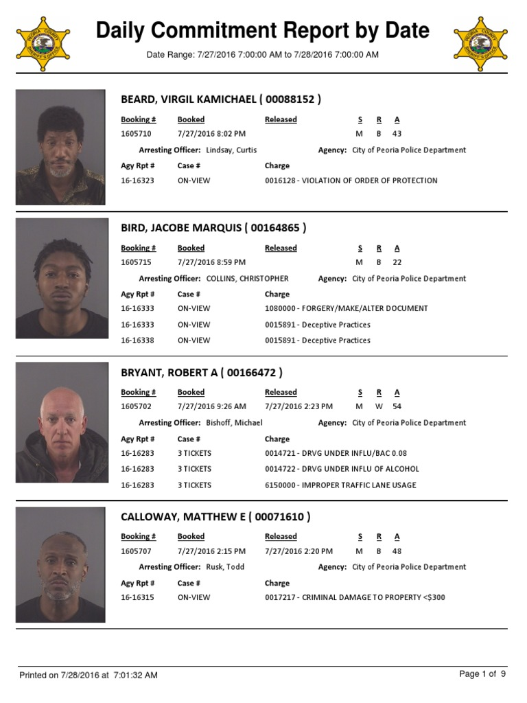 Peoria County Jail Booking Sheet For July 28 2016 Battery Crime
