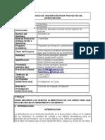 FORMATO UNICO DE  INSCRIPCIÓN PARA PROYECTOS DE INVESTIGACIÓN