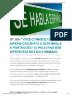 """""""Você Conhece as Diferenças Entre o Espanhol e o Português_ 80 Palavras Bem Diferentes Nos Dois Idiomas"""
