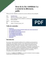 Reguillo Políticas de (in)Visibilidad. La Construcción Social de La Diferencia
