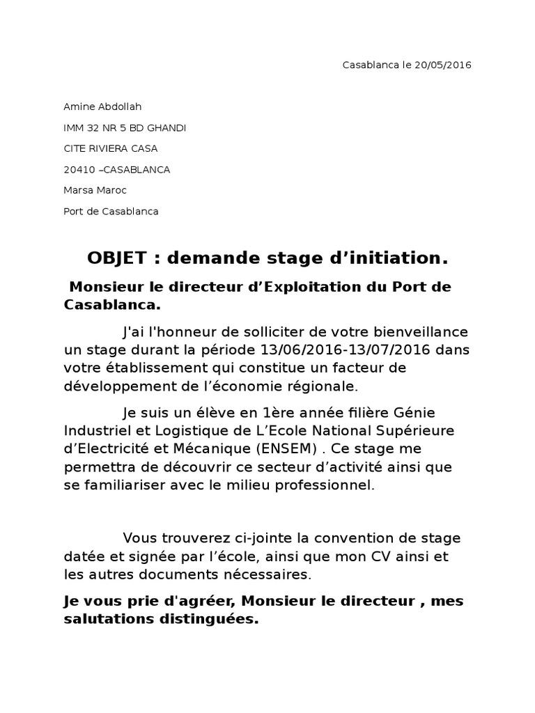lettre exemples: Demande De Stage Ocp Exemple