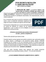 SANTOS DECRETA REVOLCÓN DEL AGRO SIN POLÍTICOS (por lo menos en el papel)