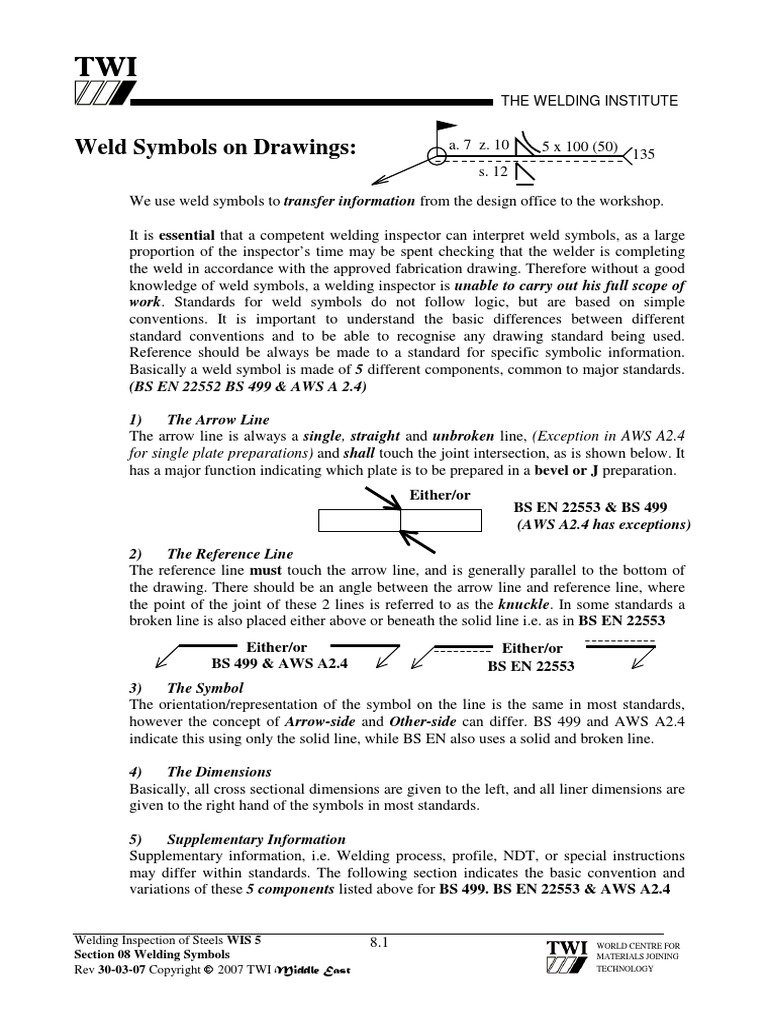 08 Welding Symbols 30 03 07pdf Welding Electric Arc
