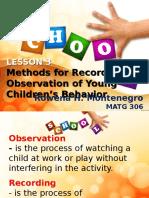 Methods for Recording Observation2
