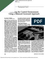 Assessing the Control Environment Using a Balanced Scorecard Appr
