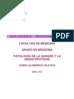 _GUIA DOCENTE_Patologia de La Sangre y La Hematopoyesis_4_CURSO 2012-13