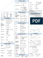 Gas Dynamics Equation sheet
