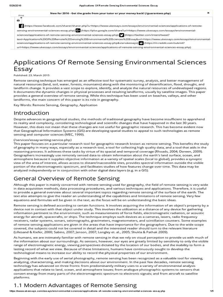 applications of remote sensing environmental sciences essaypdf  applications of remote sensing environmental sciences essaypdf  remote  sensing  geographic information system