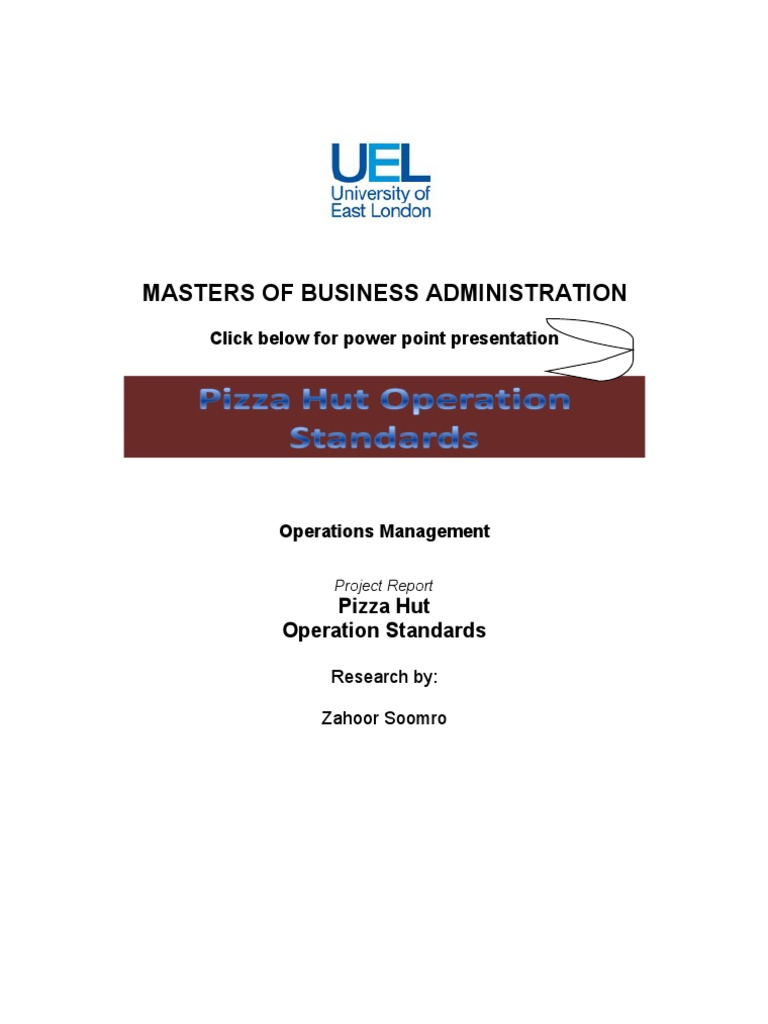 Operations Management Pizza Hut Standards- Project Report | Shelf Life |  Forecasting