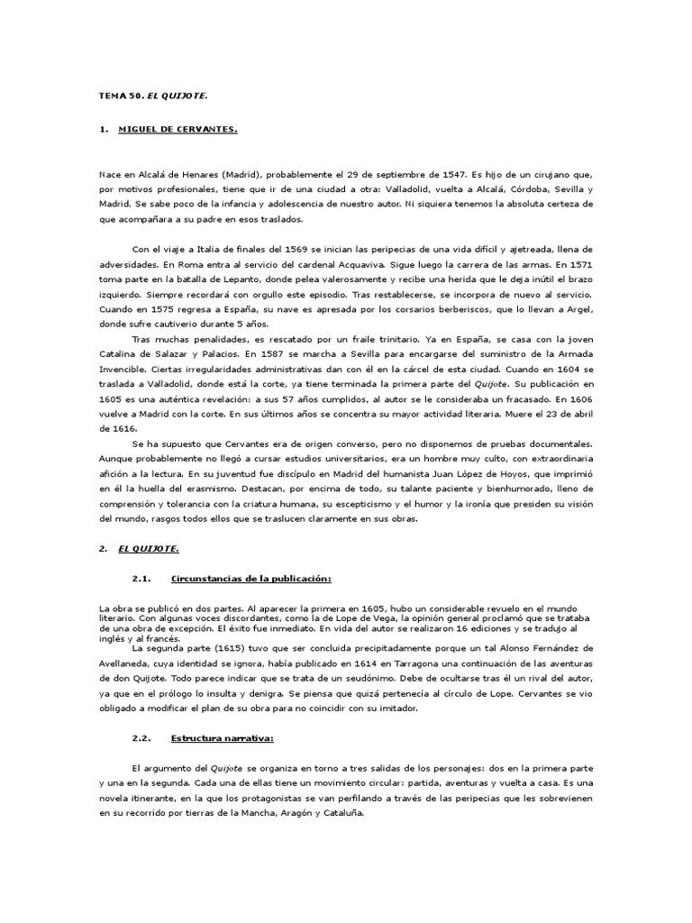 Tema 50 El Quijote Aula De Lengua