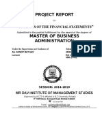 Project Analysis of Financial Statements