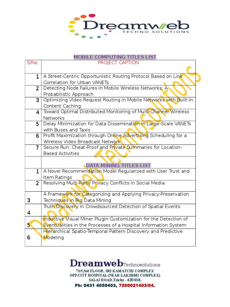 Data Mining Titles List