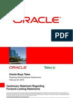 Taleo Webcast Presentation