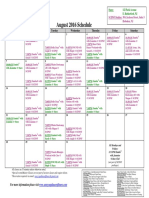 SCDNF August 2016 Schedule