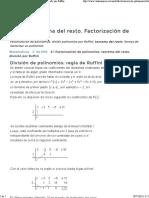 Factorizacion de Polinomios Regla de Ruffini