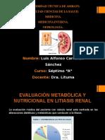 Estudio Metabolico Litiasis Renal