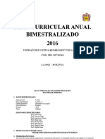 Plan Curricular Anual Bimestralizado (Segundo Primaria)