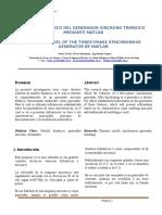 Modelo Dinámico Del Generador Síncrono Trifásico Mediante Matlab