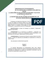 Memorándum de Entendimiento en Materia de Colaboración Académico-diplomática Entre El Ministerio de Relaciones Exteriores y Culto de La República Argentina y La Secretaría de Relaciones Exteriores de Los Estados