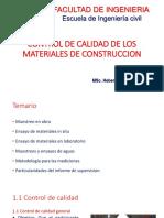 Control de Calidad de Los Materiales de Construccion