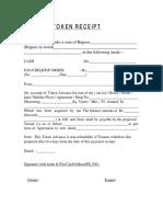 Token Receipt for advance rent format