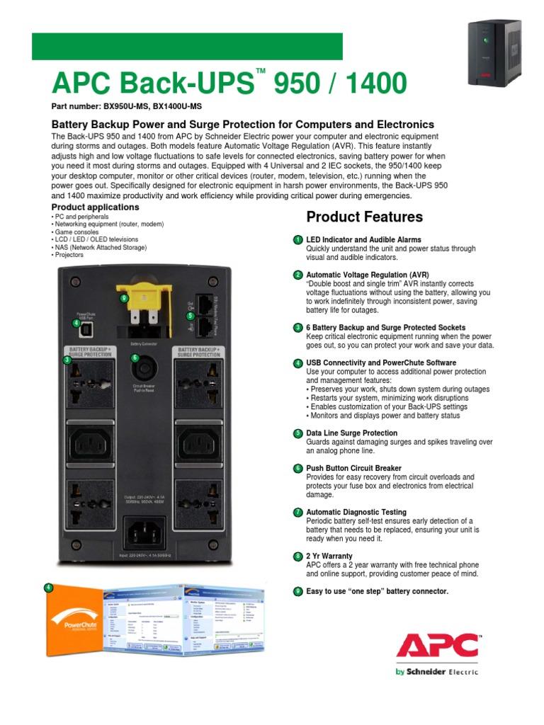 0APC BX900U-MSBX1400U-MS pdf | Battery (Electricity) | Ac Power