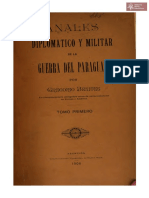 Anales Diplomático y Militar de la Guerra del Paraguay por Gregorio Benites, Asunción año 1906