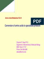 Amino Acid Metabolism II 10-15-08