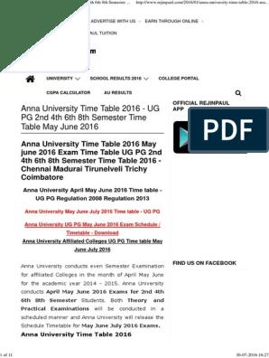 Anna University Trichi Rescheduled Timetable 2012 Pdf Document