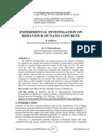 EXPERIMENTAL INVESTIGATION ON BEHAVIOUR OF NANO CONCRETE