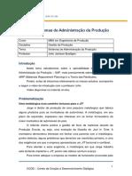 Sistema de Adminstração de Produção