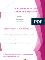 Basic Safety Procedures in High Risk Activities And