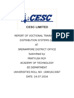 Training Report at CESC LT distribution systems
