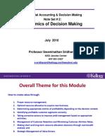 Note Set # 2 -- Economics of Decision Making Four Cases MADM 2016