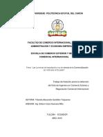 264 Las Licencias de Importación y Su Incidencia en La Comercialización de Vehículos en Ecuado