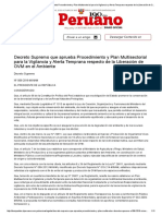 El Peruano - Decreto Supremo que aprueba Procedimiento y Plan Multisectorial para la Vigilancia y Alerta Temprana respecto de la Liberación de OVM en el Ambiente - DECRETO SUPREMO - N° 006-2016-MINAM - PODER EJECUTIVO - AMBIENTE