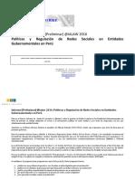 Informe IALaw 2016 - Políticas y Regulación de Redes Sociales en Entidades Gubernamentales en Perú