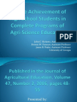 agsc 5110 science achievement of high school students in complete