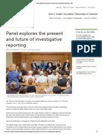 Panel explores the present and future of investigative reporting   JSK