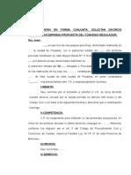 Modelo Divorcio Codigo Civil y Comercial