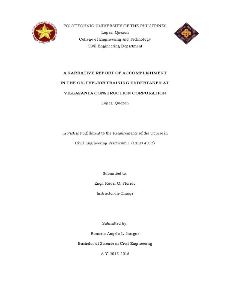 ojt narrative report engineering civil engineering - Civil Engineering Job Outlook