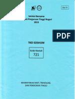 Naskah Soal SBMPTN 2015 Tes Kemampuan Dasar Sosial Dan Humaniora (TKD SoshumKode Soal 721)